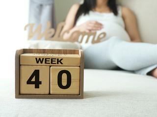 pregnant woman next to pregnancy calendar